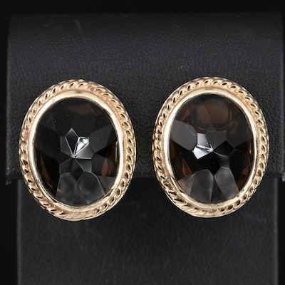 14K 34.00 CTW Smoky Quartz Button Earrings