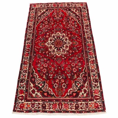 4'11 x 9'5 Hand-Knotted Persian Hamadan Wool Rug