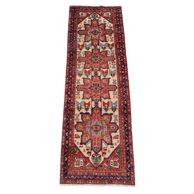 3'2 x 10'6 Hand-Knotted Persian Karaja Wool Long Rug