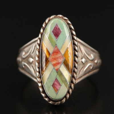 Relios Sterling Tiger's Eye, Mother of Pearl and Spiny Oyster Inlay Ring