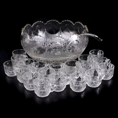 "US Glass ""Manhattan"" Punch Bowl Set, 1902–1920"