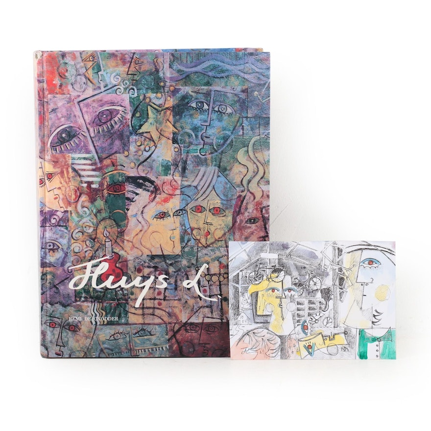 Ludo Huys Mixed Media Painting with Signed and Personalized Book, 21st Century