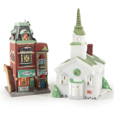 "Department 56 ""Dorothy's Dress Shop"" and ""Steeple Church"" Heritage Ornament"