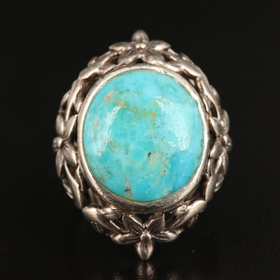 Sterling Turquoise Ring with Openwork Floral Bezel