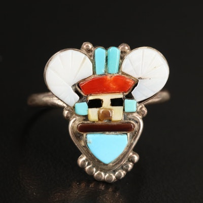 Sterling Inlaid Gemstone Kachina Ring