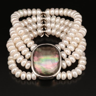 Honora Quartz Mother of Pearl Doublet and Pearl Flexible Bracelet with Pouch