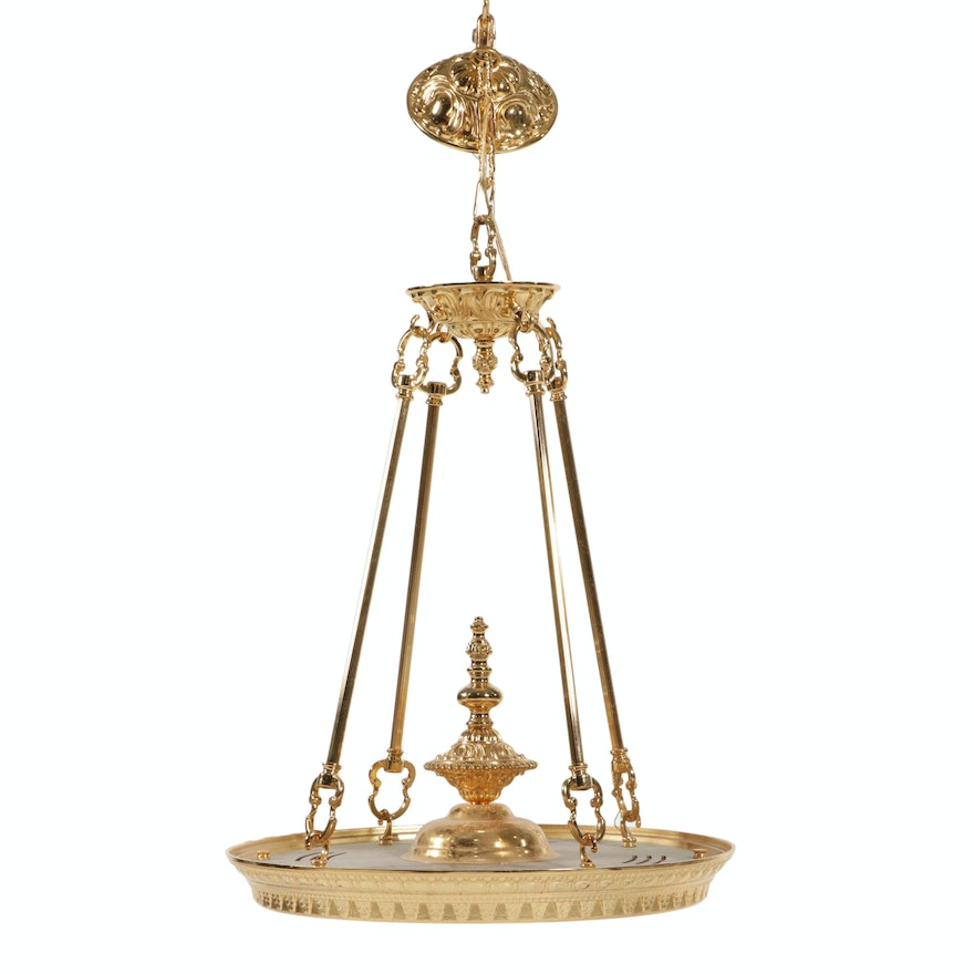 Wilshire Lacquered Brass Ceiling Pendant and Brass Drop Down Accent Lights