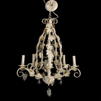 Fredrick Ramond Metal Chandelier with Grapevine Decor, Late 20th Century