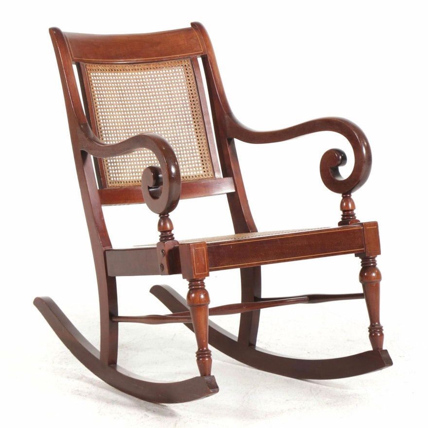 American Empire Style String-Inlaid Mahogany Caned Rocking Chair, Early 20th C.