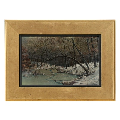 Oil Painting of Winter Creek, Mid-20th Century