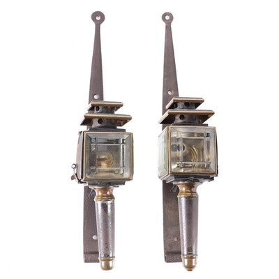 Brass and Beveled Glass Carriage Lights with Wall Mounts, Antique
