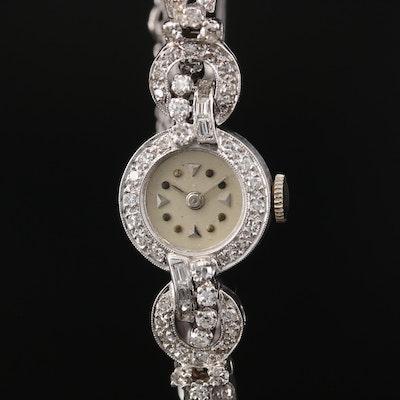 Vintage Feruz 14K White Gold and 1.03 CTW Diamond Stem Wind Wristwatch