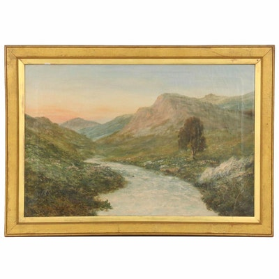 L. Richard River Landscape Oil Painting, 1887