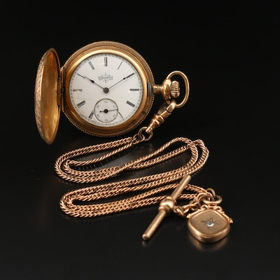 1918 Elgin Gold Filled Pocket Watch with Double Chain Fob