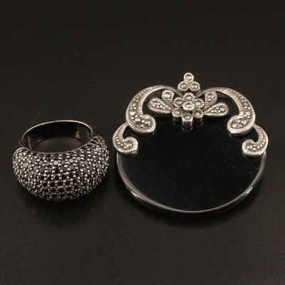 Matthew Campbell Laurenza Dome Ring with Spinel, Black Onyx and Marcasite Brooch