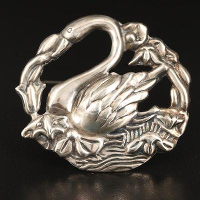 Vintage Sterling Silver Swan Brooch