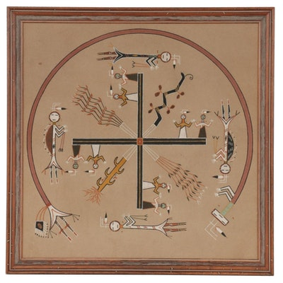 "Patsy Miller Navajo Sand Painting ""Whirling Logs,"" circa 1962"