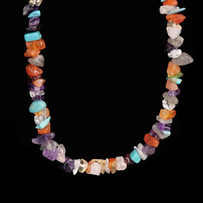 Sterling Silver Amethyst, Agate and Garnet Freeform Bead Necklace