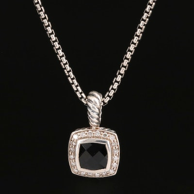 "David Yurman ""Petit Albion"" Sterling Black Onyx and Diamond Necklace"