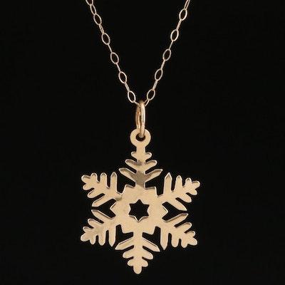 14K Snowflake Charm Pendant Necklace