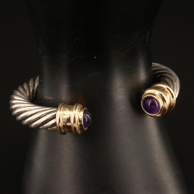 Sterling Silver Amethyst Cable Style Cuff with 14K Accents
