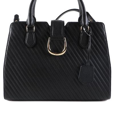 Lauren Ralph Lauren Black Leather Top Handle Bag with Adjustable Shoulder Strap