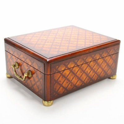 Parquet Wooden Trinket Box with Brass Hardware