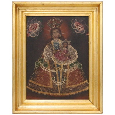Cuzco School Style Oil Painting of Madonna and Child, Mid-20th Century
