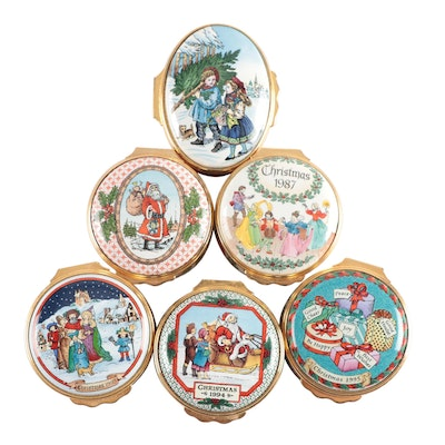 Halycon Days Annual Christmas Enameled Trinket Boxes, Late 20th Century