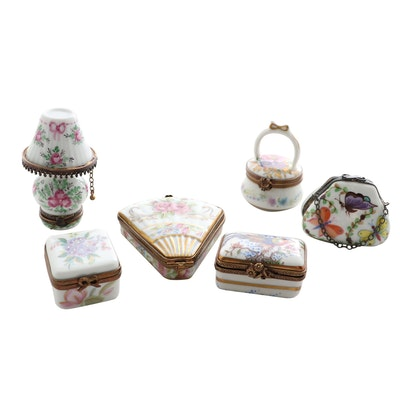 Hand-Painted Limoges Porcelain Trinket Boxes, Vintage