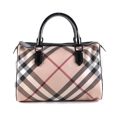 """Burberry """"Nova Check"""" Coated Canvas and Black Patent Leather Satchel"""