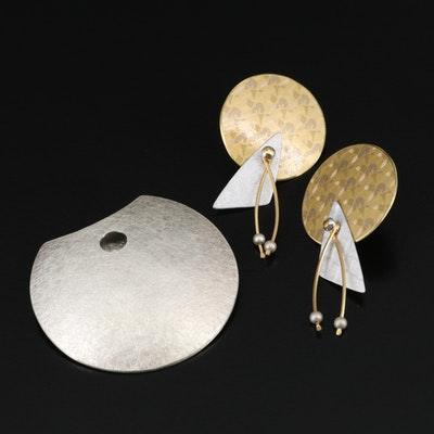 Selection of Jewelry Featuring Sterling Silver Brooch with Dangle Earrings