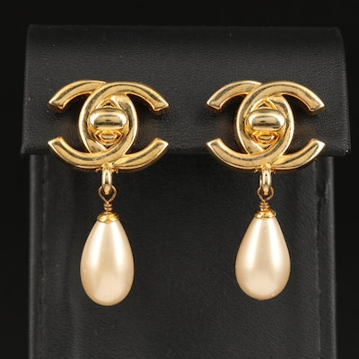 Chanel Faux Pearl Drop Earrings from the 1996 Sping Collection with Box