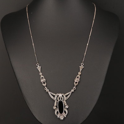 Vintage Sterling Black Onyx and Marcasite Necklace