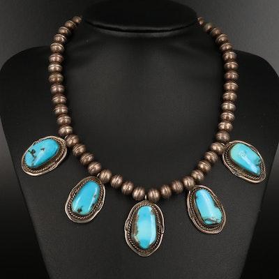 Southwestern Style Sterling Silver Turquoise Fringe Necklace