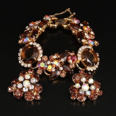 Vintage Juliana Aurora Borealis Rhinestone Bracelet with Complementary Earrings