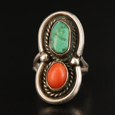 Western Sterling Turquoise and Coral Shadow Box Ring