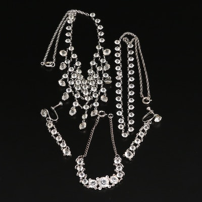 Rhinestone Jewelry Featuring Drop Earrings and Bib Necklace