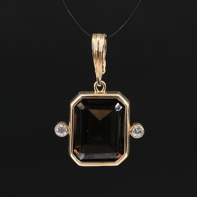 14K 17.29 CT Smoky Quartz and Diamond Enhancer Pendant