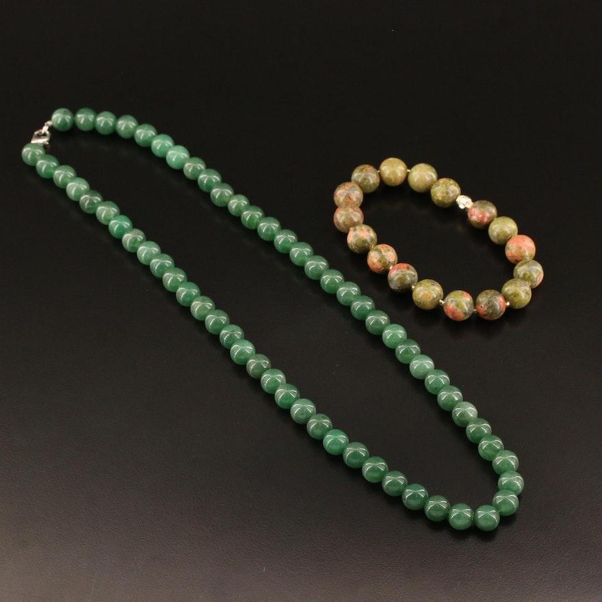 Unakite Bead Bracelet with Quartz Bead Necklace