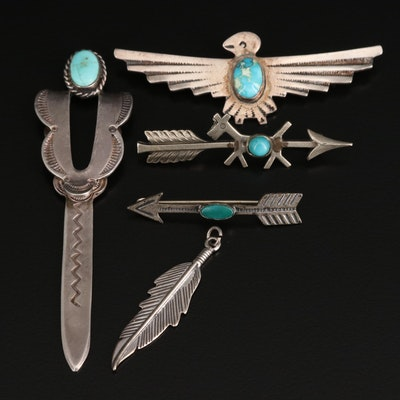Western Sterling Jewelry Including Turquoise Featuring Eagle, Dog and Arrow