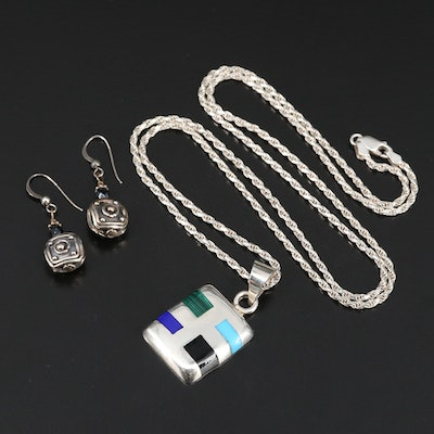 Mexican Sterling Silver Inlay Pendant Necklace with Bead Earrings