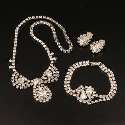 Vintage Rhinestone Parure Jewelry Set