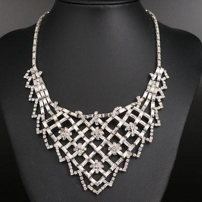 Rhinestone Lattice Pattern Bib Necklace