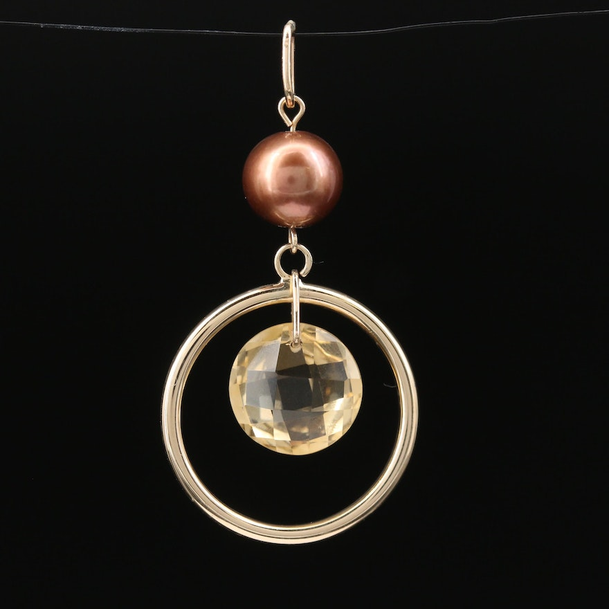 14K Citrine and Pearl Circle Dangle Pendant