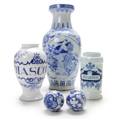 Delft Dutch Blue and White Pottery Storage Jar and Vases