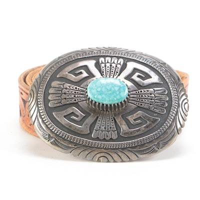 Thomas Singer Navajo Sterling Silver and Turquoise Buckle on Tooled Leather Belt