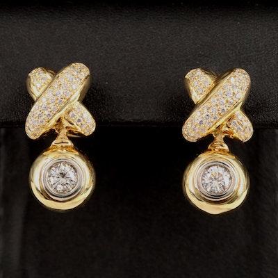 Hyde Park 18K 1.78 CTW Diamond Crossover Earrings