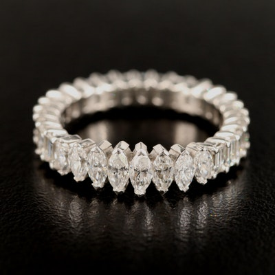 Platinum 3.58 CTW Marquise and Baguette Cut Diamond Band