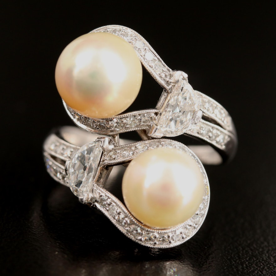 Platinum Natural Pearl and 1.36 CTW Diamond Bypass Ring with GIA Report